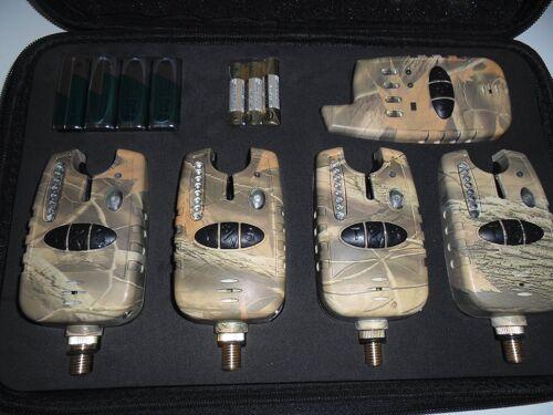 Free Gift tone 4 x TMC Camo Wireless Bite alarms /& Receiver Run LED/'s LED/'s