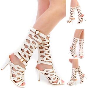 42080cb3fbd2 white Strappy Open toe Mid calf Gladiator bootie Stiletto Heel Pumps ...