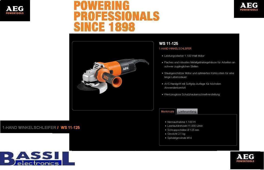 AEG Winkelschleifer WS 11-125 11-125 11-125 1100W 2c4392