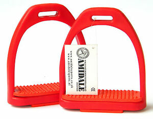 AMIDALE POLYMER STIRRUPS TOE CAGE EQUESTRIAN TRAINING AND GUIDING EQUIPMENT BLUE TREADS 4.75