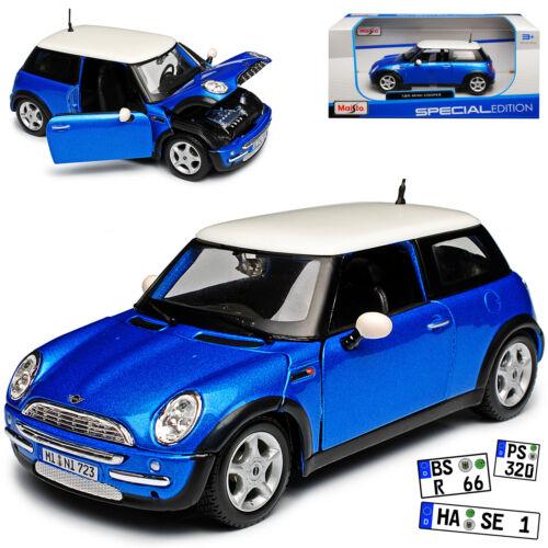 MINI COOPER r50 BLU CON TETTO IN BIANCO 2001-2006 1//24 Maisto Modello Auto con ode
