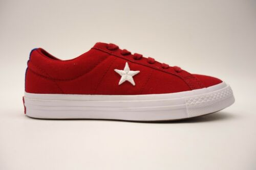 New Converse Womens American Bright Red Chuck Taylor One Star Low Canvas Shoes 7