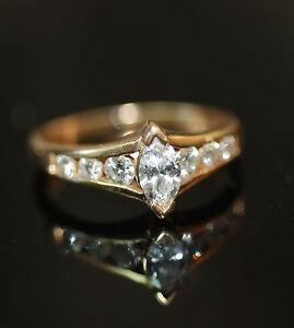 Natural-Marquise-0-91ct-Diamond-Cut-Tiara-Style-Engagement-Ring-14k-SZ6