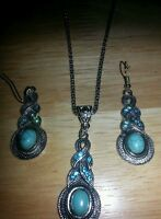 Royal Bali Turquoise/ Topaz Necklace/ Earring Set 20 In Popcorn Chain
