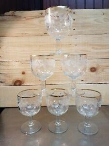 USED-Set-6-Gold-Rimmed-Etched-Grape-Design-Wine-Goblets-Tea-Glasses