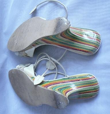 Zapatos de tacón alto Mujer cuña Fiorella crema Sandalias De Tiras Talla: 3/36 (WHS78)