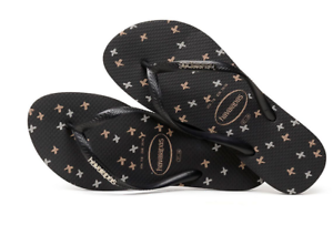 59f8fbc939aebf Havaianas Women`s Flip Flops Slim Logo Metallic X Sandals Black Gold ...