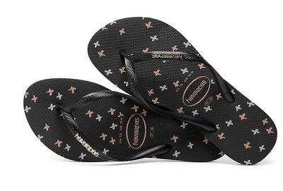 Details about  /Havaianas Women`s Flip Flops Slim Logo Metallic X Sandals Black Gold Silver NWT