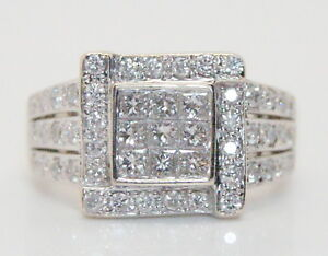 Women-039-s-14K-White-Gold-3-4-Ct-TW-Appx-Diamond-Cluster-Ring-Size-6-3-4