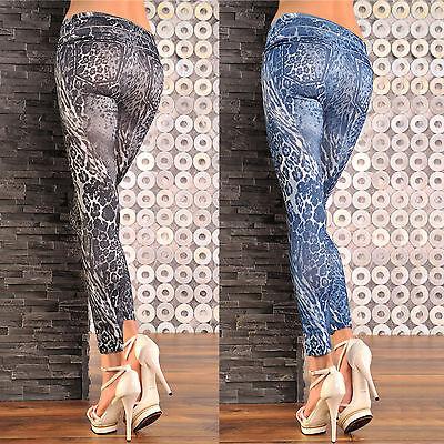 Sexy Leo Leggings Jeans Print Stretch Hose Leggins XS-M, 34-38 schwarz, blau
