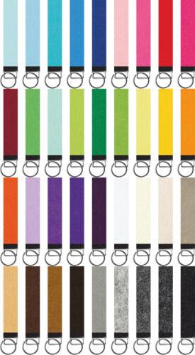Filz Schlüsselanhänger mit Lasergravur nach Wunsch 3mm 32mm x 150mm 36 Farben