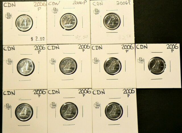 2006 P Canada 10 Cents Lot of 10 Unc #6765