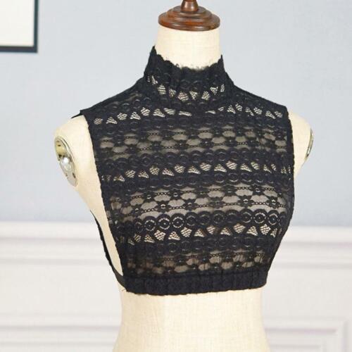 Women Mock Neck Fake Collar Striped Floral Lace Detachable Half Shirt Crop Top