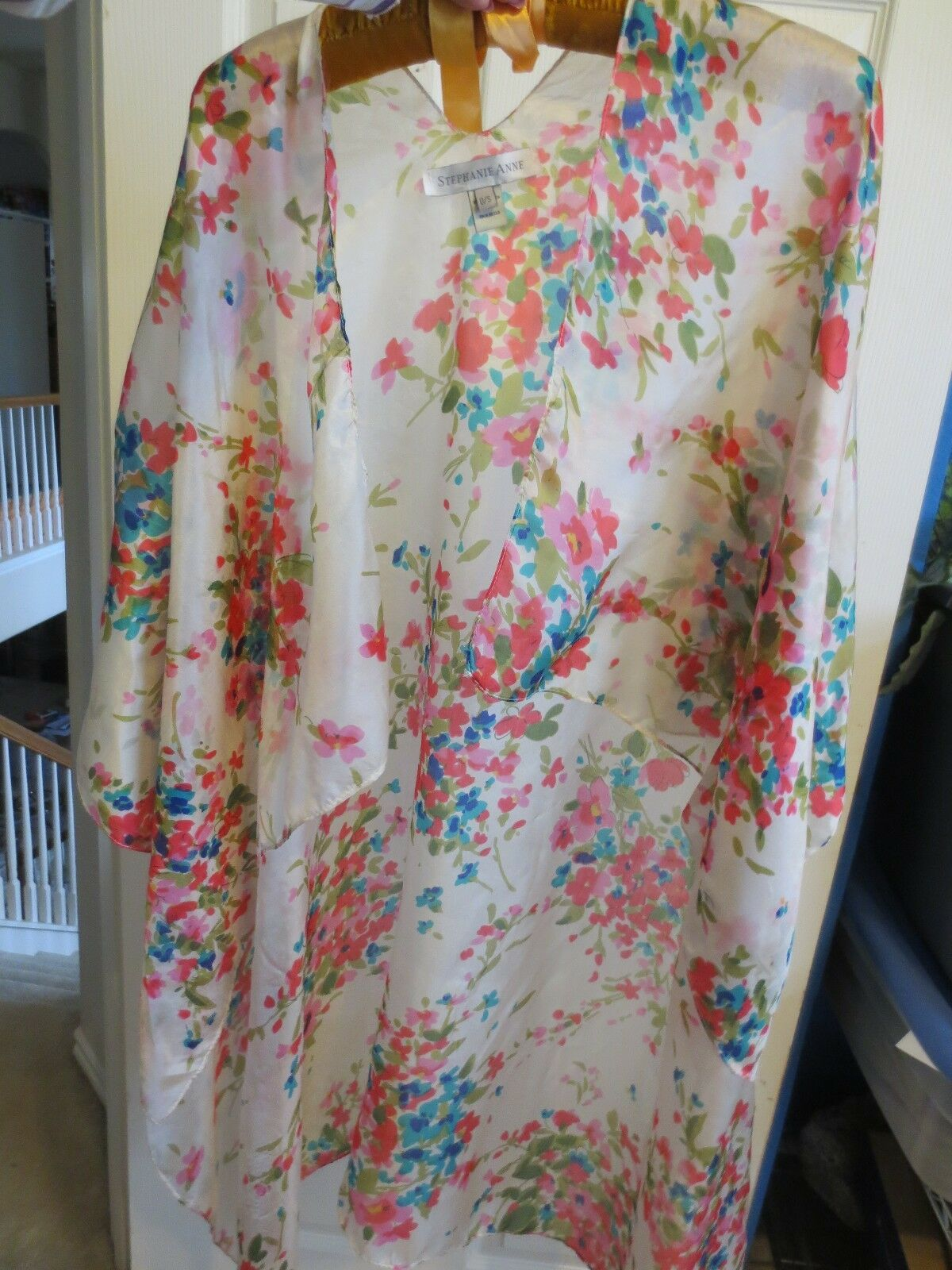 Stephanie Anne Silk Multi-color Dynamic Floral  Hi-Low Kimono Cardigan Shrug
