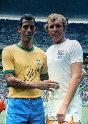 CARLOS ALBERTO TORRES SIGNED BRAZIL ENGLAND WORLD CUP 1970 PHOTOGRAPH PELE PROOF