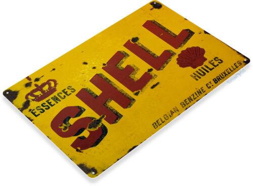 TIN SIGN Shell Belgium Metal Décor Gas Oil Art Garage Auto Shop A605