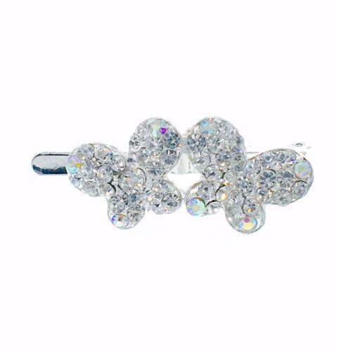 Magnet Hair Clip Rhinestone Crystal Hairpin Barrette Elegant Butterfly Silver