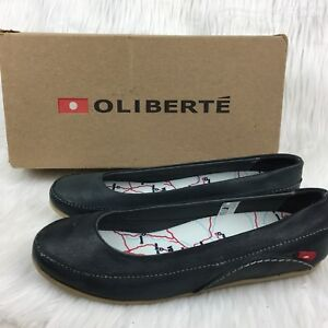 1c722576d0ab Oliberte Womens 39 9 Flats Dark Gray Fair Trade Brushed Wax Leather ...