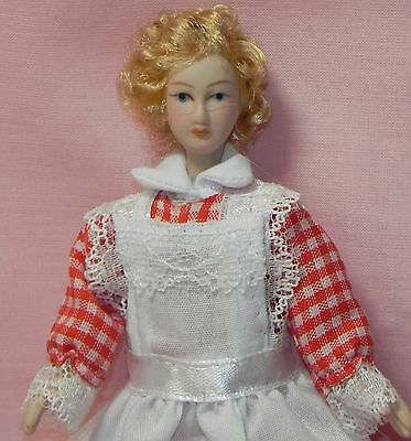 Dollhouse Miniature Doll Maid Red White Check Outfit Reutter Porcelain 1:12