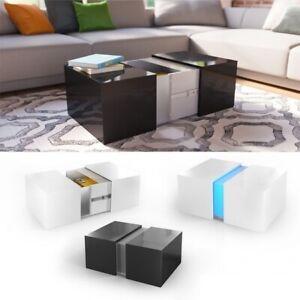 Tavolini Da Salotto Apribili.Dettagli Su Tavolino Da Salotto Caffe Moderno Con Illuminazione A Led Con Cassetto Apribile