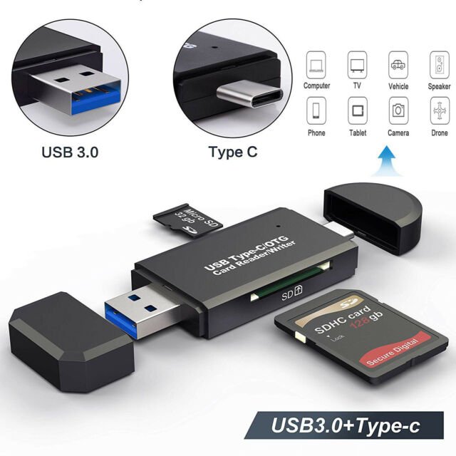 Sd Sdxc Micro Sd USB 3.1 USB C Adapter,4 in 1 OTG,TF,SD Card Reader Hub for MacBook Windows Tf Sdhc