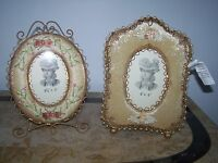 Lot Of 2 Unique Vintage Look Gold Metal Beads Roses Design Picture Frames