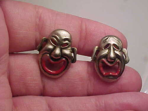 vintage comedy and tragedy cufflinks.unsigned.mayb