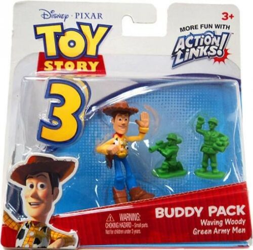 Toy Story 3 Action Links Buddy Pack Waving Woody /& Green Army Men Mini Figures