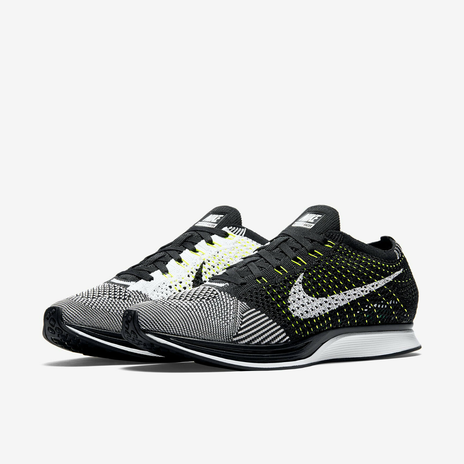 Nike - Flyknit Racer - Oreo - Size 11.5  45.5 - Black   White White - New in Box