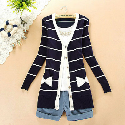 Preppy Style Girls Bowtie Pockets Knit Cardigan Casual Sweater Tops 7Colors
