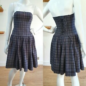all saints grey check fit flare pleated boned corset dress