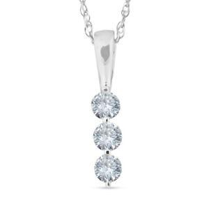 1/4ct 3 Stone Round Three Diamond Pendant Necklace 14K White Gold