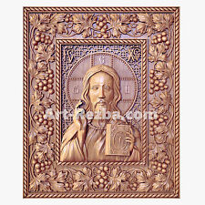 """20"""" Jesus Christ God The Lord Almighty Icon 3D Orthodox Wood Carved Russian"""