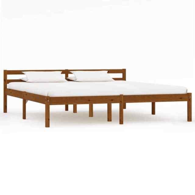 Vidaxl Solid Pine Wood Bed Frame Honey Brown 180x200cm 6ft Super King Bedroom For Sale Online Ebay