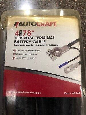 """AC145 Autocraft 4 Gauge 78/"""" Top Post Battery Cable"""