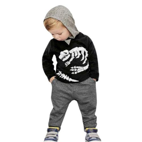 Toddler Kids Baby Girls Boys Dinosaur Bones Hooded Tops+Pants Outfit Clothes Set