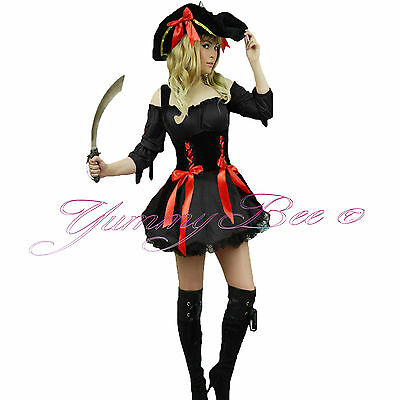 Pirate Fancy Dress Costume Ladies Outfit Women Caribbean Plus Size Wench Captain