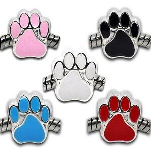 5-Neu-Charm-Mix-Versilbert-Emaille-Hundpfote-Perlen-Beads-11x11mm
