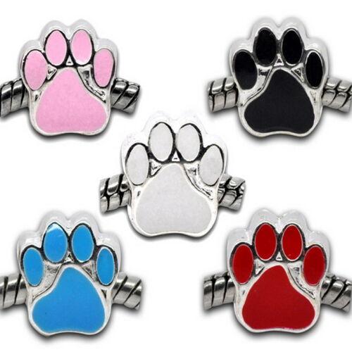 5 Neu Charm Mix Versilbert Emaille Hundpfote Perlen Beads 11x11mm