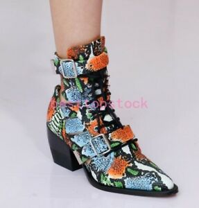 Women-Ankle-Pump-Shoes-Lace-up-and-Buckle-Pointy-Toe-Western-Oxford-Ankle-Boots