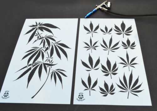 2PK Painting Stencils Camouflage Airbrush Craft cannabis Marijuana Pot leaf CAMO