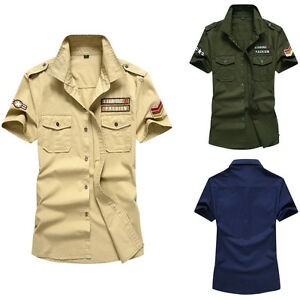 Army-New-Men-039-s-Cotton-Casual-Air-Force-Slim-Short-Sleeves-Shirts-XS-XXL-MD119