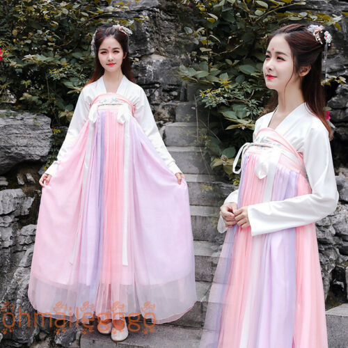 Hanfu Women/'s Dress Tops Chest Skirt Coat Pink Chinese Cosplay Dress Party Dance