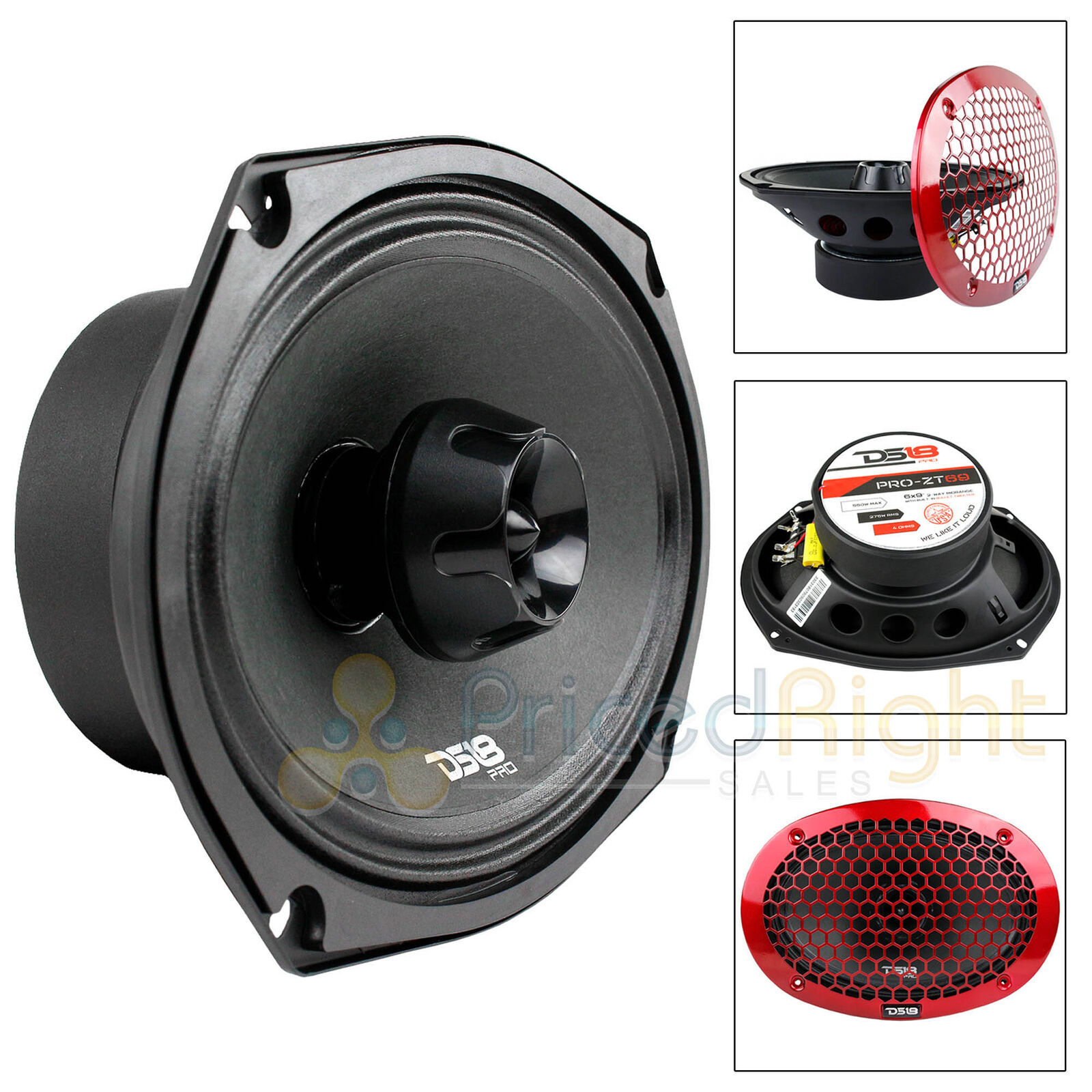 "2 Pack 6x9/"" Midrange Speaker Built In Tweeter 550 Watts Max 4 ohm DS18 PRO-ZT69"