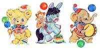 Vintage Image Nursery Party Animals Trio Bear Horse Waterslide Decals An693