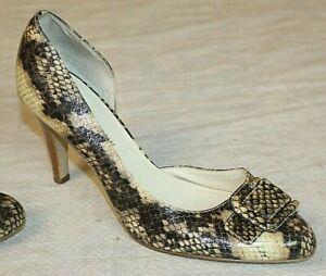 Anne-Klein-AK-Womens-Size-6-5-Beige-Snakeskin-Pattern-Pumps-w-3-034-Stiletto-Heels