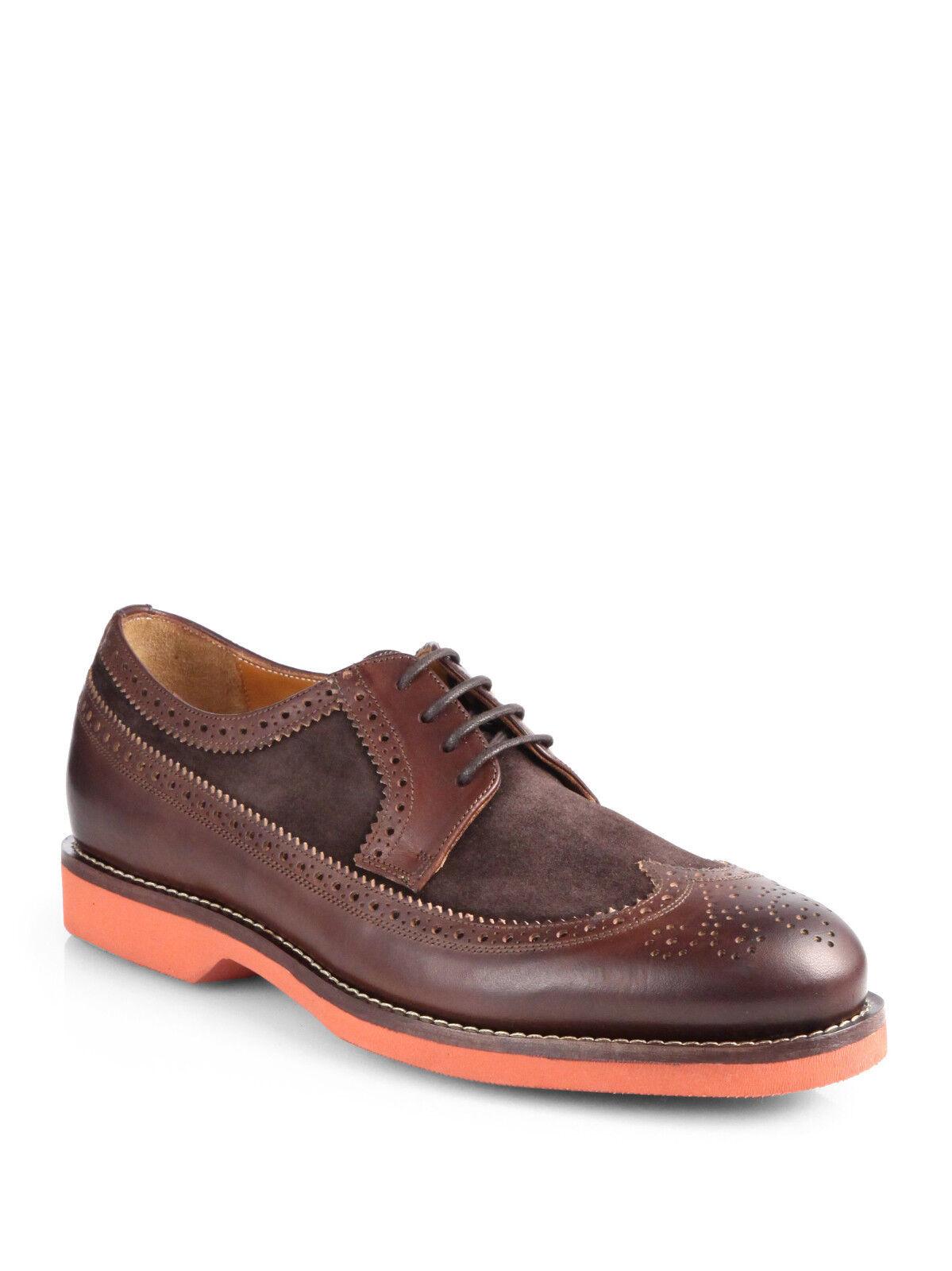 Polo Ralph Lauren Dark marrone Suede Pelle Pelle Pelle Hoover Wingtip Oxfords Scarpe New  550 54d190