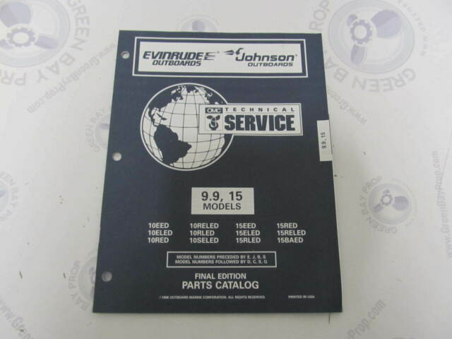 438192 OMC EVINRUDE Johnson 9 9-15 HP OUTBOARD Parts Catalog 1996 OEM