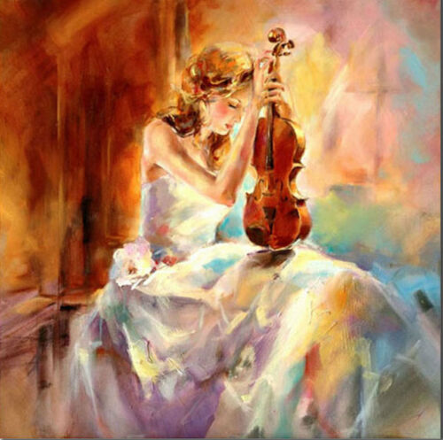 LMOP628 Deep in contemplation violin girl hand painted art oil painting canvas