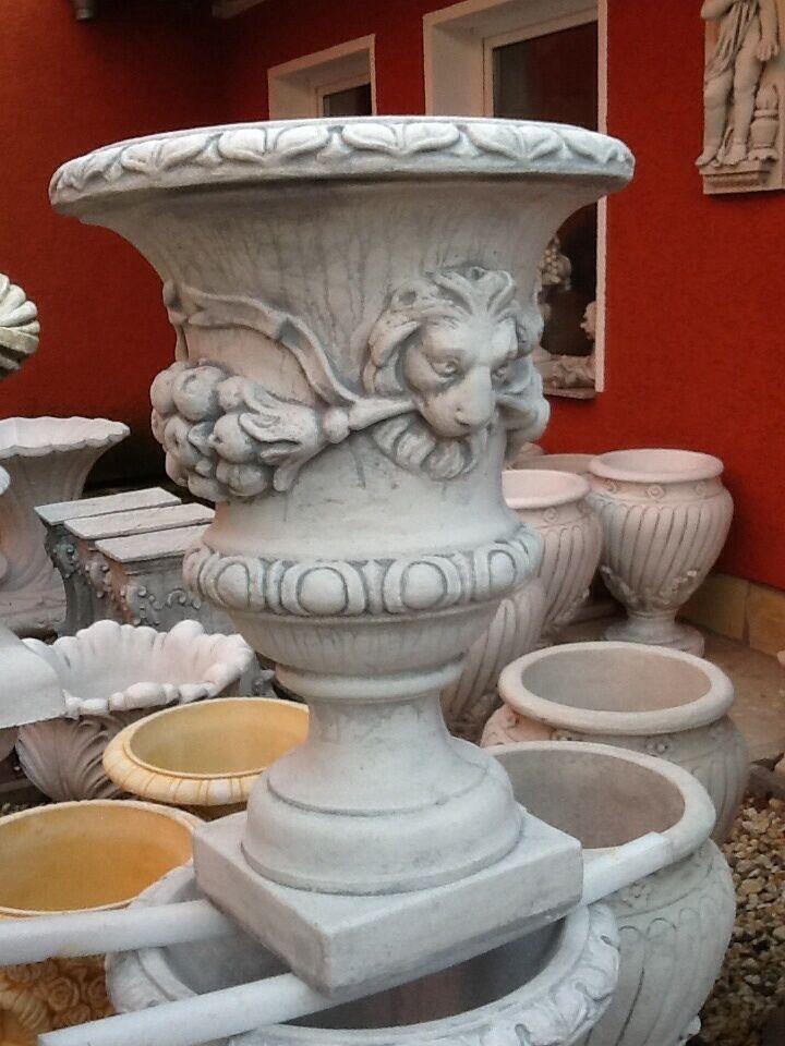 Pflanzschalen Vase Amphore Amphore Amphore Löwenkopfdesign Steinguss Löwe 70 cm Gartendeko a9b684
